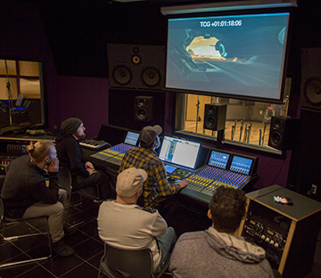 sound design students work in studio