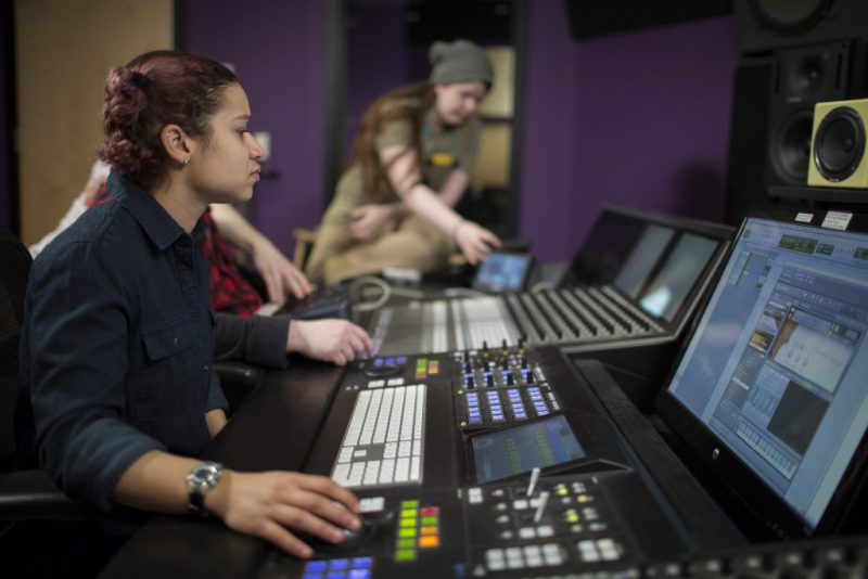 college student gets hands on sound design experience in studio at IPR